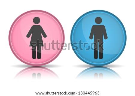 icon toilet, Man & Woman, vector illustration - stock vector