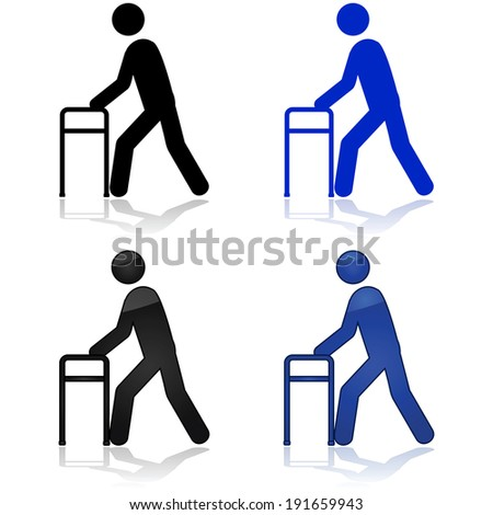 Icon vector illustration showing a person using a walking aid - stock vector