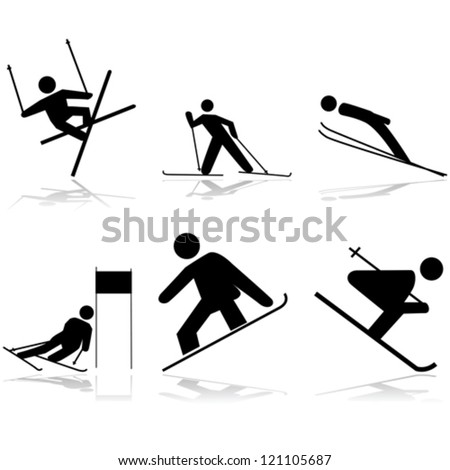Icon vector illustrations showing different winter sports performed on snow surfaces - stock vector