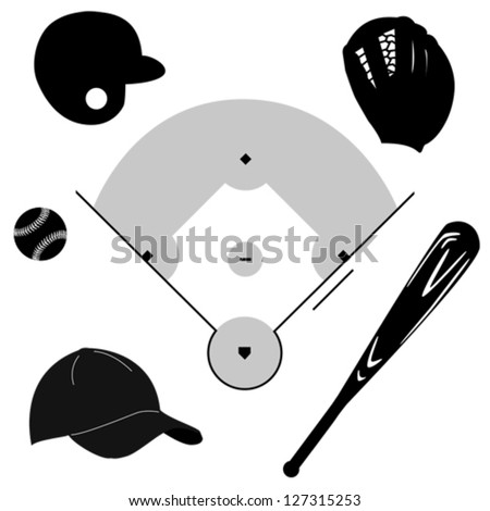 Icon vector set showing different baseball elements around a baseball diamond - stock vector