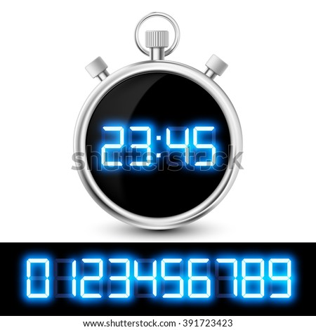 Icon watch with a digital display. Set of neon numbers. Stock vector illustration. - stock vector