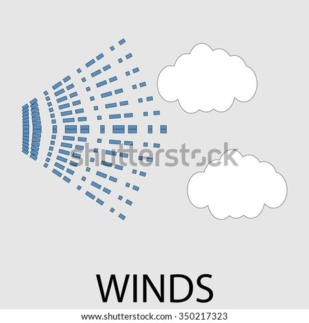 Icon weather winds. Flow air stream, typhoon forecasting, climatology hurricane, windy interface widget tornado.  Vector art design abstract unusual fashion illustration - stock vector
