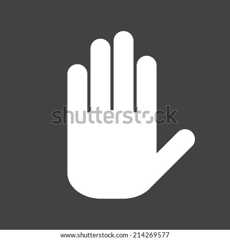 Icon white hand on a grey background - stock vector