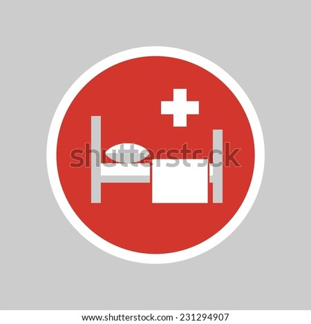Icon with bed and cross. Hospital sign. Vector silhouette. - stock vector