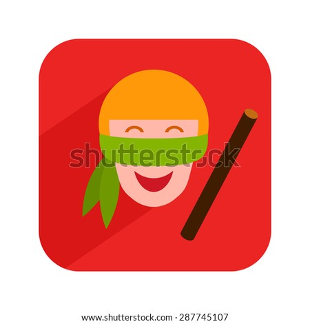 Icon with boy playing in pinata. Vector illustration. - stock vector