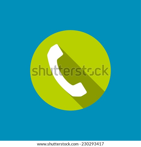 Icon with handset. Call technical support. Contacts. flat design with long shadows - stock vector