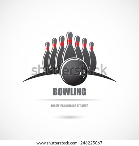 Icon with skittles  and a bowling ball. Vector - stock vector