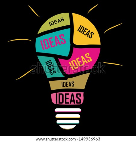 Iconography of ideas in a yellow blue red pink bulb - stock vector