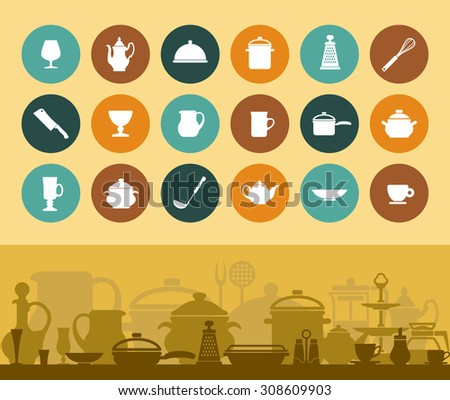 Icons and banner cookware and tableware - stock vector