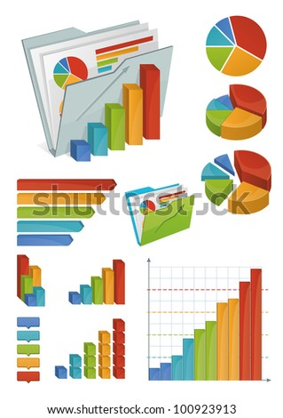 Icons And Chart Elements - stock vector