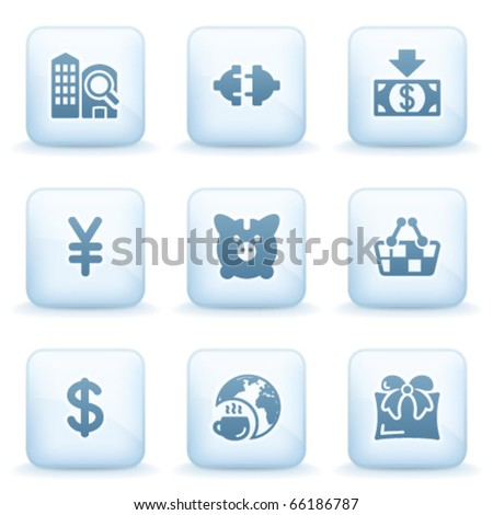 Icons blue series 24 - stock vector