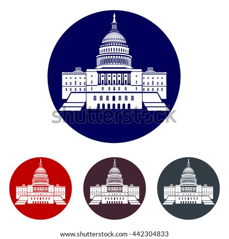 Icons Capitol building in the United States for the election of the US President in the US government Capitol Building - stock vector