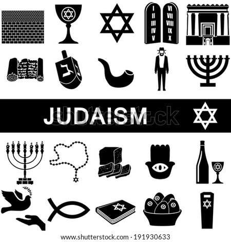 Icons collection for judaism on white background - stock vector