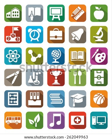 Icons colored education. Colored icons on the theme of education and training, with images of school supplies.  - stock vector