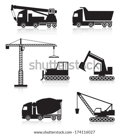 icons construction equipment: crane, scoop, mixer,  scraper - stock vector