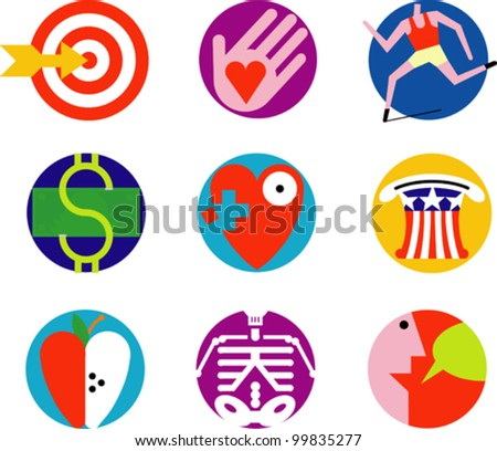 Icons depicting various concepts and activities - stock vector