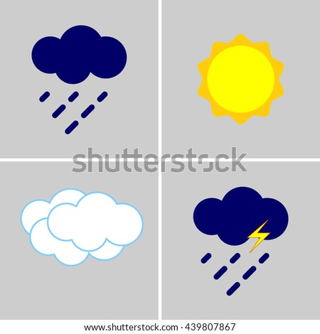 Icons describing the weather forecast. The sun. Sun with cloud. Sun with cloud and drops. Cloud with droplet. weather icons. weather icons vector. weather icons flat. weather icons eps. weather icons. - stock vector