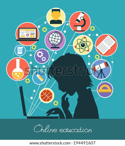 Icons education. Silhouette of a boy surrounded by icons of education. Concept online education. - stock vector