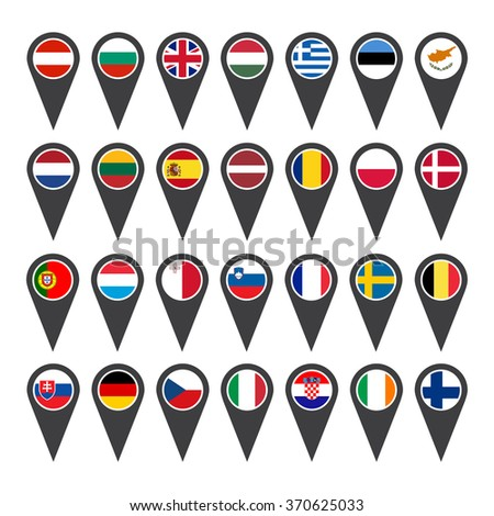 Icons European Union flags on white background  - stock vector