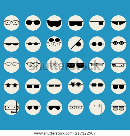 Icons faces with glasses - stock vector