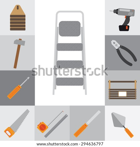 Icons flat.I t contains icons repairman working tools. Gray squares. Without a shadow. - stock vector