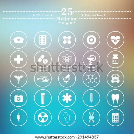 Icons flat is medicine white on a blurred background - stock vector