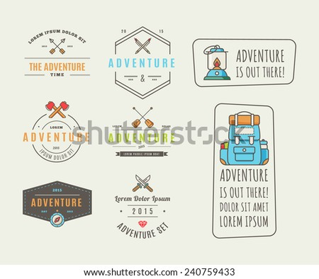 Icons for adventure in the style of flat  - stock vector