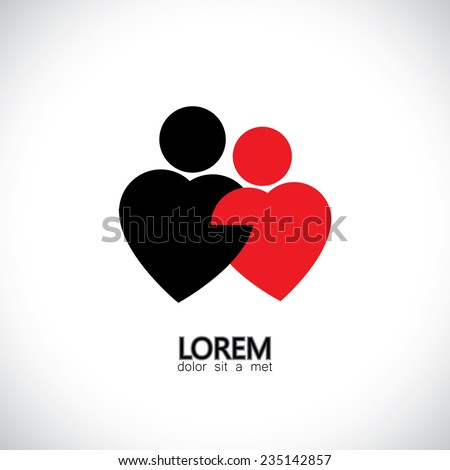 icons for bonding, love & lovers, couple, pair - concept vector graphic. The graphic also represents girl & boy as 2 hearts together, lasting love, platonic love, made for each other, valentines day - stock vector