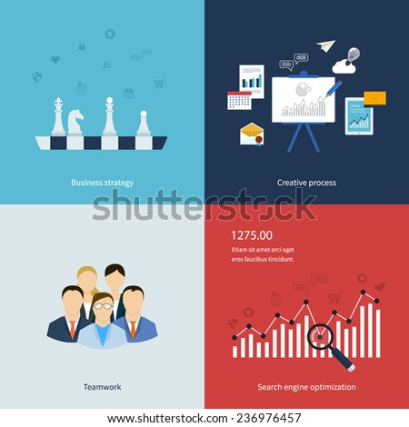 Icons for business strategy, teamwork, workflow, creative process and search engine optimization in flat design. Vector illustration. - stock vector