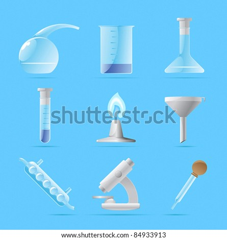 Icons for chemical lab. Vector illustration. - stock vector