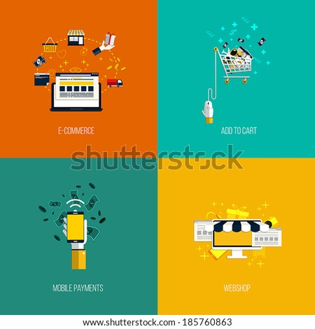 Icons for e-commerce, add to cart, mobile payments and webshop. Flat style. Vector - stock vector