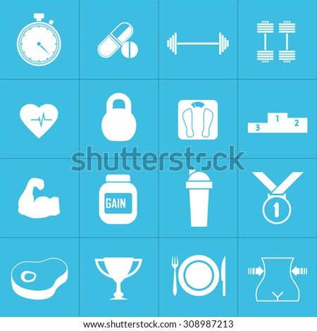Icons for fitness and a healthy lifestyle. Health and nutrition. Stopwatch, amino acids, barbells, dumbbells, cardio, weight, strength, gainer, protein shaker, medal, meat, cup, food. Design flat. - stock vector