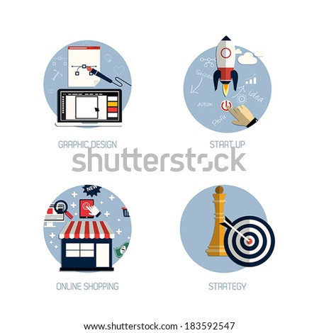 Icons for graphic design, start up, online shopping and strategy. Flat style. Vector - stock vector