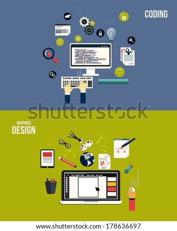 Icons for graphics design and coding. Flat style. Vector - stock vector