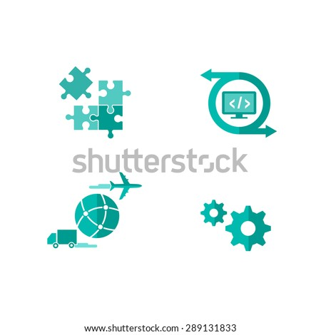 Icons for integrated and customized shipping software - stock vector