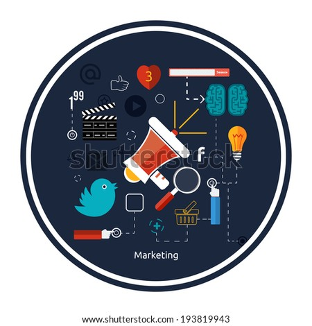 Icons for marketing. Digital marketing concept. Flat design stylish megaphone with application icons and set of social network icons with links bird like hand global network heart search bar - stock vector