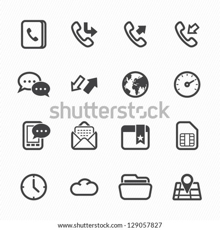 Icons for Mobile Phone with White Background - stock vector