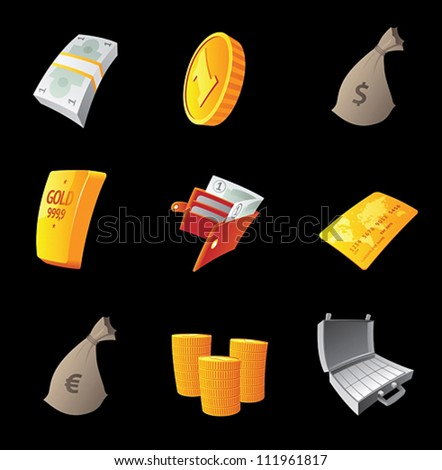 Icons for money, black background. Vector illustration. - stock vector