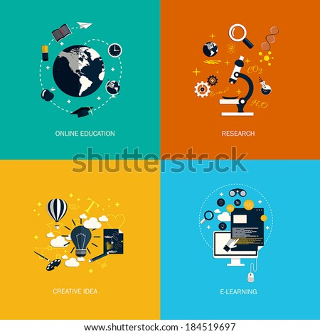 Icons for online education,research,creative idea and e-learning. Flat style. Vector - stock vector