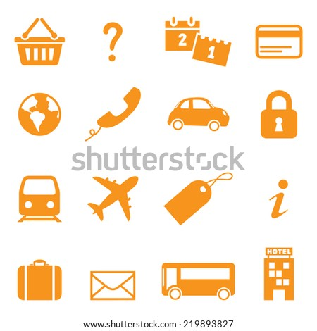 Icons for online travel booking. Easy to change color. - stock vector
