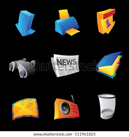 Icons for PC interface, black background. Vector illustration. - stock vector