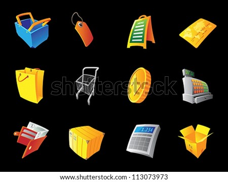 Icons for retail, black background. Vector illustration. - stock vector