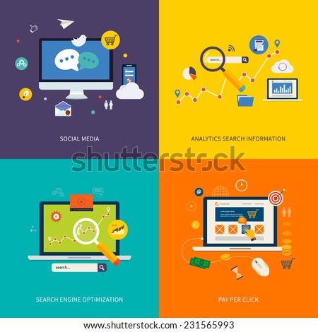 Icons for seo, social media, analytics search information and pay per click internet advertising in flat design. Set of flat design concept icons for web and mobile services and apps. - stock vector