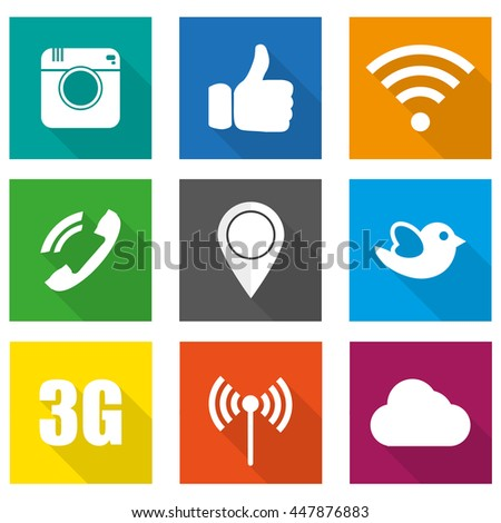 Icons for social networking vector illustration in flat design - stock vector