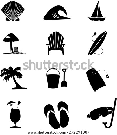 Icons for summer - stock vector