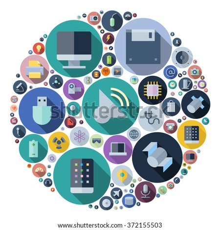 Icons for technology and electronic devices arranged in circle. Vector illustration. - stock vector