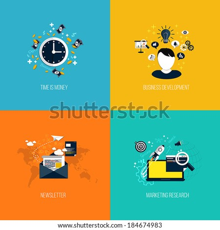Icons for time is money, business development, newsletter and marketing research. Flat style. Vector - stock vector