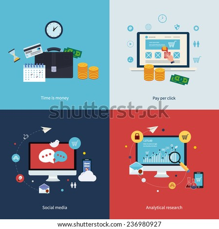 Icons for time is money, pay per click, online shopping, social media and analytical research in flat design. Vector illustration. - stock vector