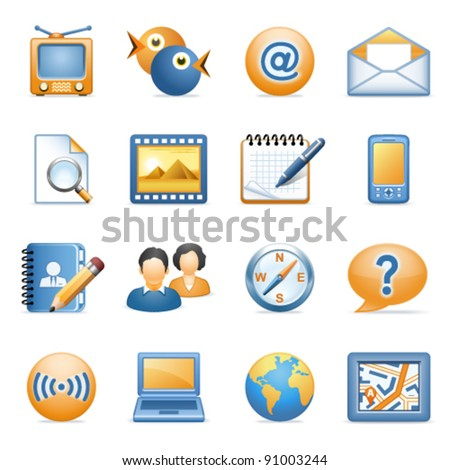 Icons for web blue orange series 1 - stock vector