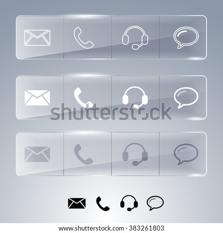 Icons for web design on the glass surface. Vector banner. Contact icons. Set. Monochrome design. Glass plates - stock vector